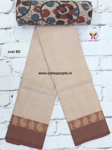 CCST80-Chettinad Cotton saree with mango and flower  thread border and Kalamkari blouse - Lydiaspurple