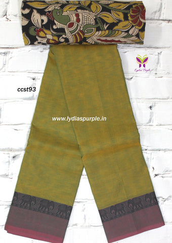 CCST93-Chettinad Cotton saree with diamond thread border and Kalamkari blouse - Lydiaspurple
