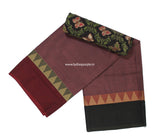 CCS01-Chettinad Cotton saree with temple thread border and Kalamkari blouse - LydiasPurple