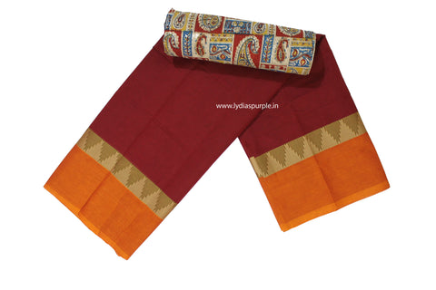 CCS03-Chettinad Cotton saree with temple thread border and Kalamkari blouse - LydiasPurple