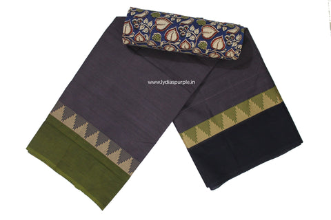CCS04-Chettinad Cotton saree with temple thread border and Kalamkari blouse - LydiasPurple
