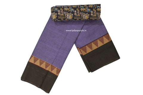 CCS06-Chettinad Cotton saree with temple thread border and Kalamkari blouse - LydiasPurple