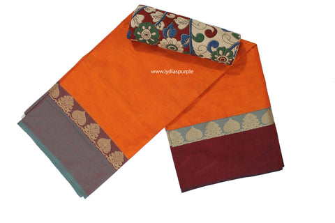 CCS09-Chettinad Cotton saree with temple thread border and Kalamkari blouse - LydiasPurple