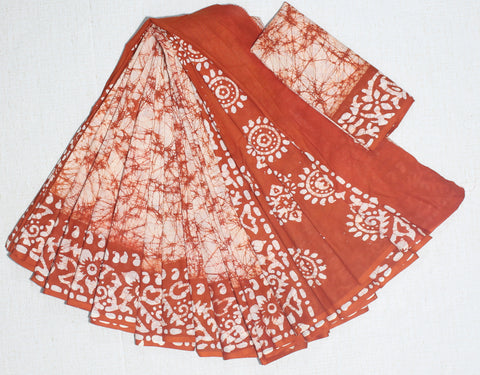 CRBMC01-crack bathik cotton malmal  saree with blouse