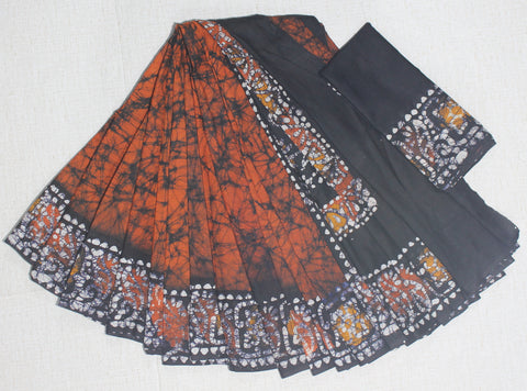 CRBMC07-crack bathik cotton malmal  saree with blouse