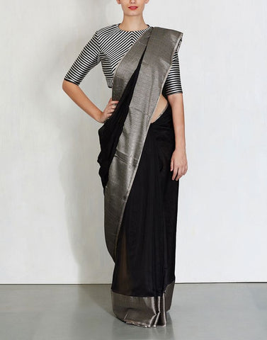 BHBS01-black linen saree with silver zari border and silver colour striped blouse - Lydiaspurple