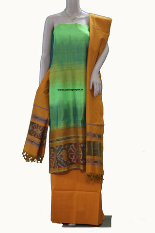 POCHAMPALLY DHAMAN DOUBLE SHADE PARROT GREEN &MUSTARD YELLOW 3 PC SUIT - LydiasPurple