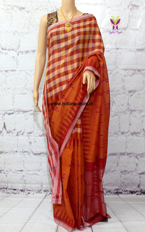 ICBR- Pochampally ikkat Cotton Saree in brick red colour and double weave pattern