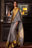 Golden zari linen saree - lydiaspurple