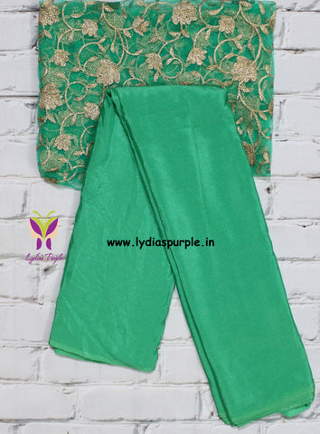 ACSGDB - Sea green antique chiffon saree with designer blouse ( double blouse)