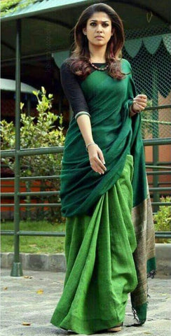 green linen saree - lydiaspurple