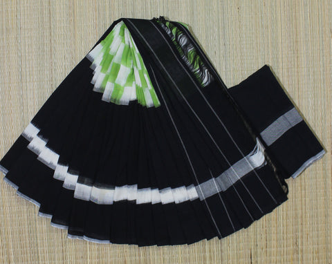 PCBPGC01- Pochampally ikat cotton saree black and parrot green checks pattern