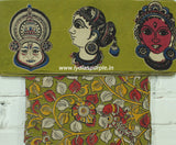 FGKBB01-green faces kalamkari border paired with floral blouse - Lydiaspurple