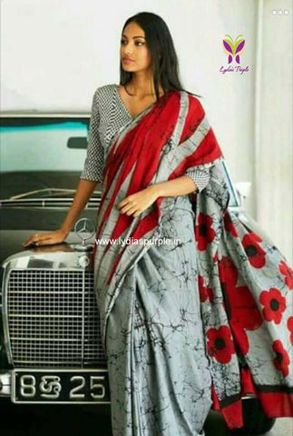 DGRMS01-designer grey and red malmal cotton saree with pattern printed blouse