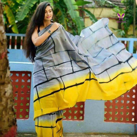 KMCGYSS-designer yellow and grey checks pattern malmal cotton saree with blouse