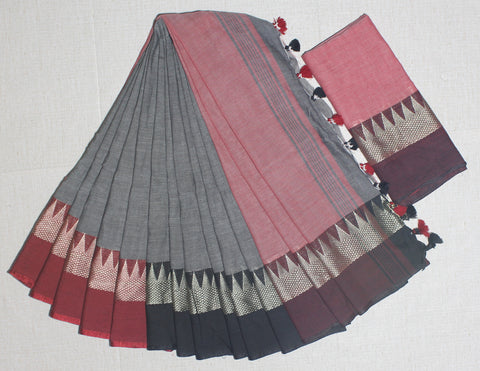 TKGRKCS- soft temple border grey and red khadi cotton saree with contrast blouse