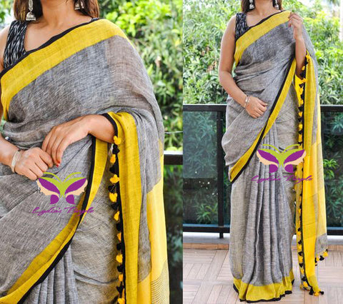 BHGY-Grey and yellow  linen saree with yellow border - Lydiaspurple
