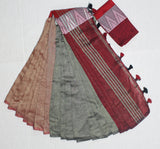 LPMKC11-handloom khadi cotton saree with temple thread border in mid saree