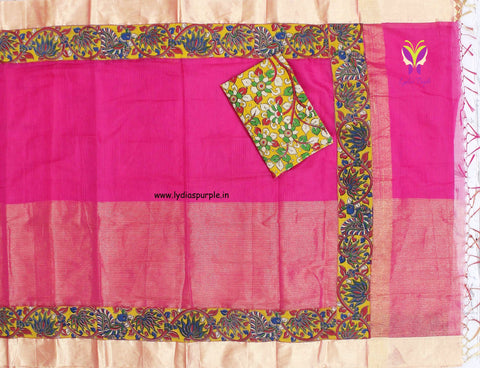 HKHTKBBRP05-Kalamkari patch work on half tissue half kota sareewith kalamkari border and kalamkari blouse - Lydiaspurple