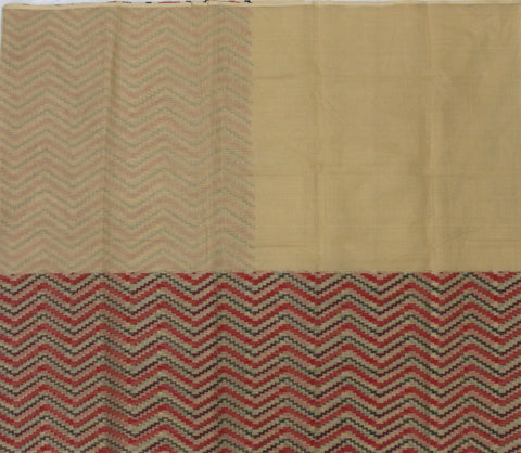 IKP-BEIGE kota cotton saree with Ikkat print - LydiasPurple