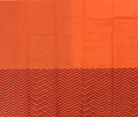 IKPO- Orange kota cotton saree with Ikkat print - LydiasPurple