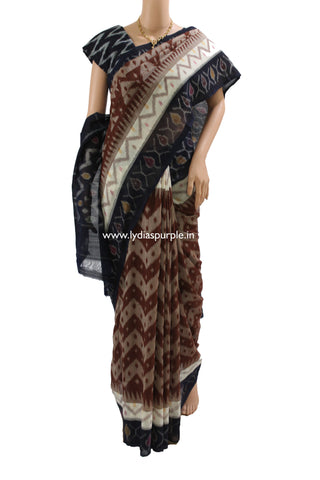 PCCB01-POCHAMPALLY IKKAT Pure CHOCOLATE BROWN  AND NAVY  BLUE ZIG ZAG PATTERN Cotton Saree - LydiasPurple