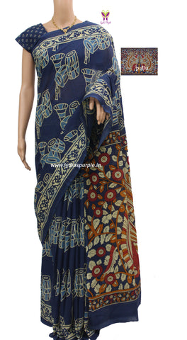IMIKP01- baghru musical instrument block printed malmal cotton saree with kalamkari pallu - LydiasPurple
