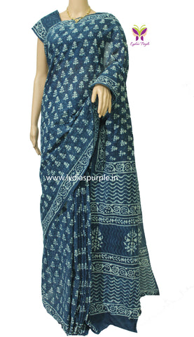 LPBRIL-indigo baghru leaf  and self printed malmal cotton saree - LydiasPurple