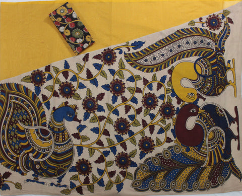 KPSY- Kalamkari half patch work YELLOW saree with kalamkari blouse - LydiasPurple