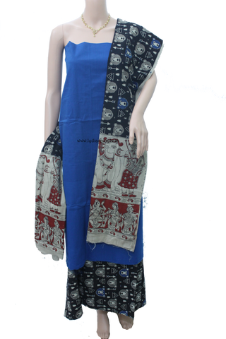 KQB-Kalamkari Handloom Dress Material - LydiasPurple