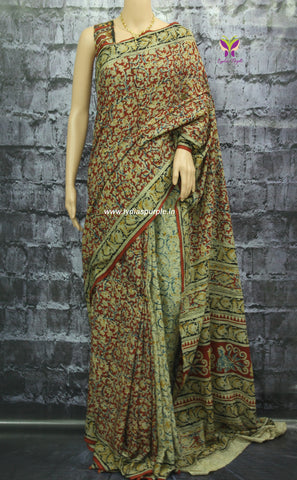 KPP02-Kalamkari Cotton partly pallu Saree - Lydiaspurple