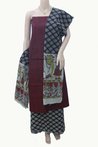 KQR-Kalamkari Handloom Dress Material - LydiasPurple