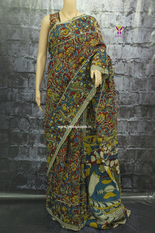 KCSBRF-Kalamkari Cotton partly pallu Saree - Lydiaspurple