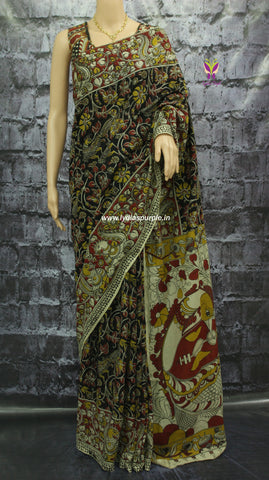 KCSBF-Kalamkari Cotton Saree - Lydiaspurple