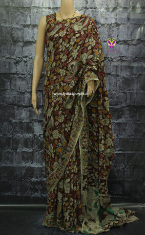 KCSAFR-Kalamkari Cotton  Saree - Lydiaspurple