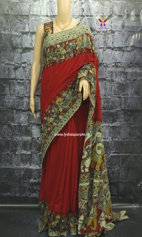 kcsre-Kalamkari dyed Cotton  Saree - Lydiaspurple