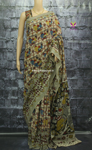kcsrrb-Kalamkari  Cotton  Saree - Lydiaspurple