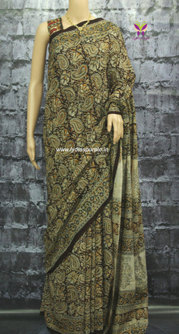 kscmm-Kalamkari dyed Cotton  Saree - Lydiaspurple
