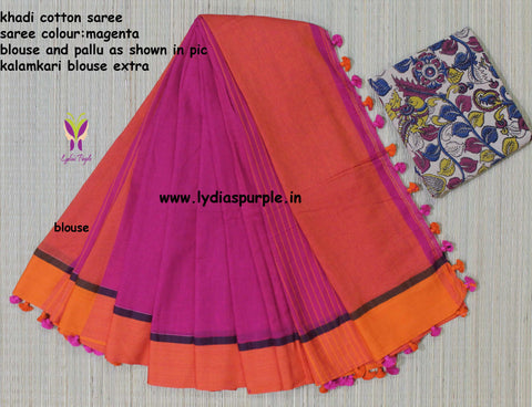 LPKCSP05-khadi cotton saree with three side pompom border and extra kalamkari blouse - Lydiaspurple