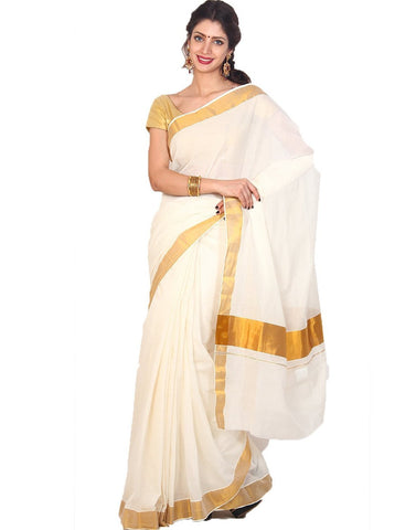 PKCS-plain kerala cotton kasavu off white saree - Lydiaspurple
