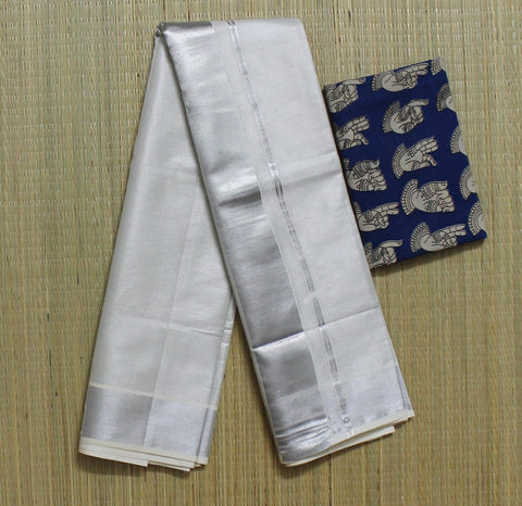 KSTDKB - kerala silver tissue saree with running blouse and designer kalamkari blouse