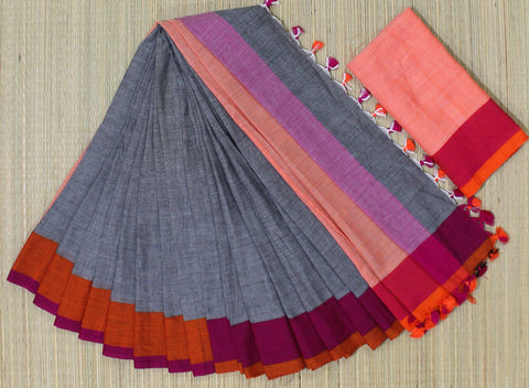 KPGPOS01-handloom khadi cotton grey pink and orange saree with running blouse