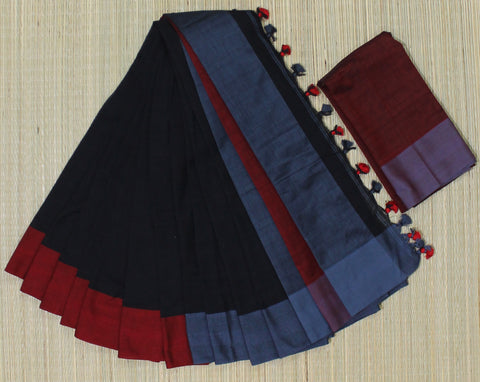 KPBGR01-handloom khadi cotton grey ,blackand red saree with running blouse