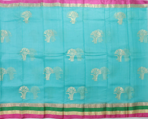 IKSB-WATER BLUE kota SILK saree with zari butta and satin zari border - LydiasPurple
