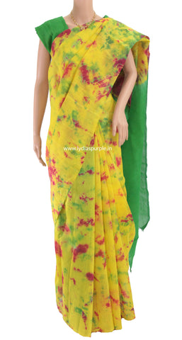 CMYESBP-Mango Yellow Chanderi Mercerised Cotton BATIK DYED  saree - LydiasPurple