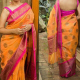 KSAZ01-orange and pink kota silk saree with antique zari weaving - Lydiaspurple