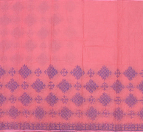 MKPP-BABY PINK kota cotton saree with muggu kollam print - LydiasPurple