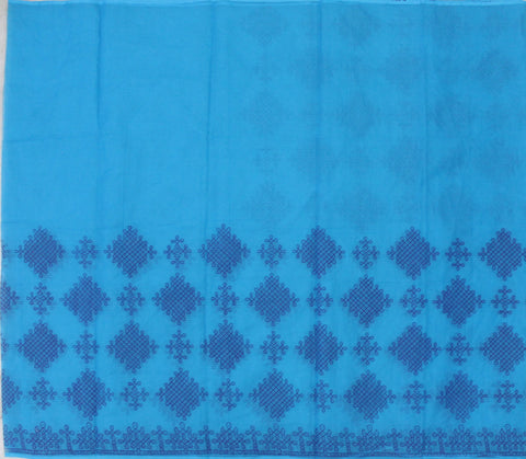 MKPW-WATER BLUE kota cotton saree with muggu kollam print - LydiasPurple