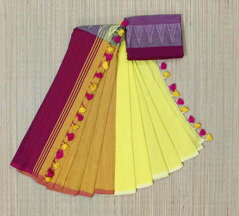 yellow pink khadi cotton saree with temple border - lydiaspurple