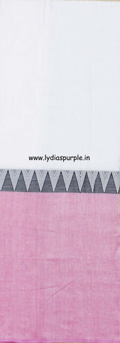 lpmkc02-handloom khadi cotton saree with temple thread border in mid saree - Lydiaspurple
